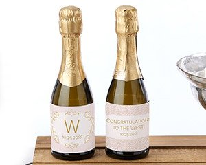 Personalized Mini Wine Bottle Labels - Modern Romance image