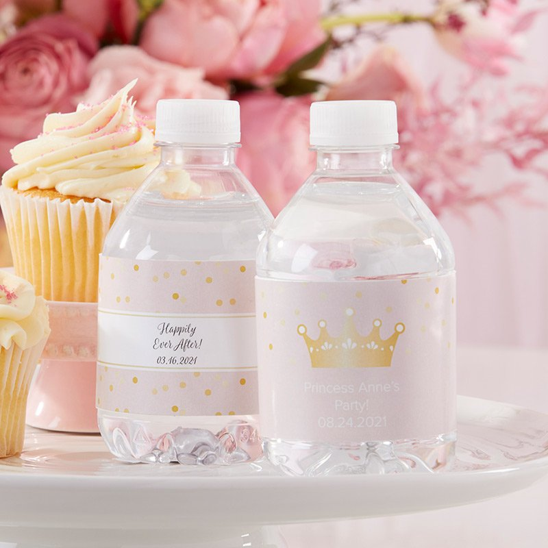 Personalized Water Bottle Labels - Princess Party image