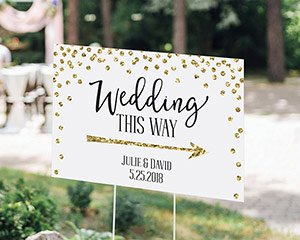 Personalized Gold Glitter Wedding Directional Sign (18x12) image