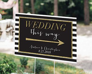 Personalized Classic Wedding Directional Sign (18x12) image