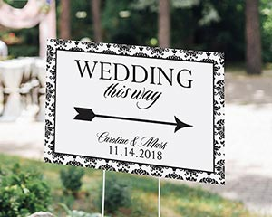 Personalized Damask Directional Sign (18x12) image