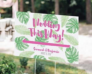 Personalized Pineapples & Palms Directional Sign (18x12) image