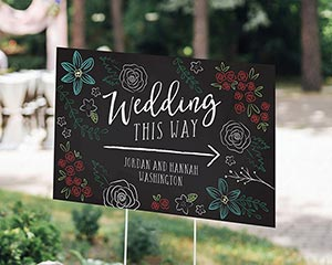 Personalized Chalk Wedding Directional Sign (18x12) image