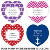 Heart-Shaped Personalized Wedding Favor Tags (Set of 36)
