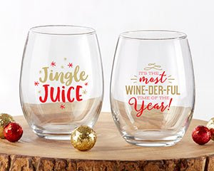 Red & Gold Christmas 15 oz. Stemless Wine Glass (Set of 2) image