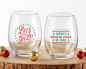 Red & Green Christmas 15 oz. Stemless Wine Glass (Set of 2) image