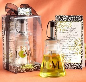 Glass LOVE Bottle Olive Oil Wedding Favors image