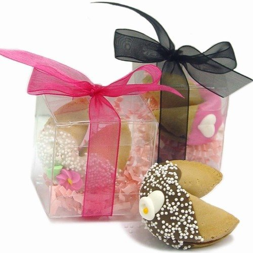 Typical Cash Wedding Gift: Wedding Fortune Cookie In Clear Favor Gift Box