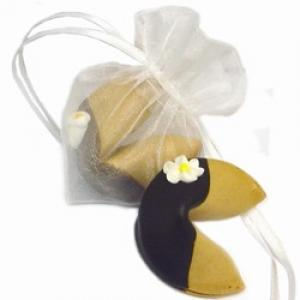 Organza Heart-Shaped Bag with Single Wedding Fortune Cookie image