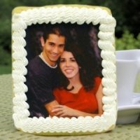 Rectangular Wedding Iced Photo Cookie Favors