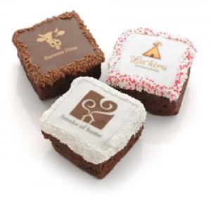 Corporate Logo Brownies -White Chocolate Dipped image