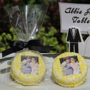 Chocolate Dipped Photo Wedding Oreo Cookie Favors image