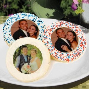 Round Photo Wedding Sugar Cookies image