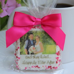 Chocolate Covered Wedding Photo Cookie Favors (2 Sizes) image