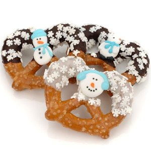 Winter Themed Chocolate & Caramel Pretzels image
