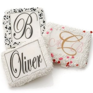 Chocolate Covered Monogrammed Graham Cookie Favors image