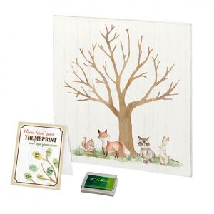 Woodland Baby Shower Guest Book Alternative with Ink Pad image