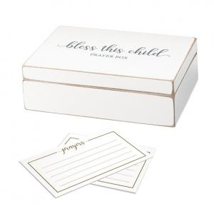 Distressed White Bless this Child Prayer Box with Paper Card image