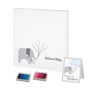 Baby Elephant Canvas Baby Shower Guest Book Alternative with image