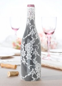 Lace Wine Bottle Cover - Cream image