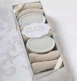 Mr & Mrs Bath Soap and Washcloths image