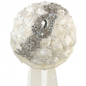 Pearl and Rhinestone Cream Bridal Bouquet image
