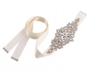 Rhinestone Bridal Belt - Ivory or White image