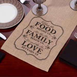 Food Family & Love Burlap Table Runner image