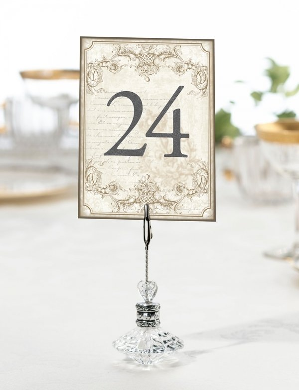 1-24 Chalk Style Flower Wedding Table Numbers Number Cards