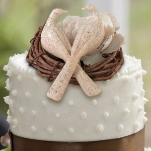 Stone Finish Doves Cake Pick image