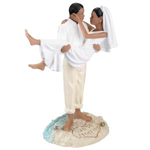 Beach Wedding African American Cake Topper image