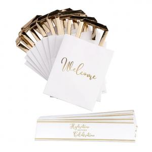 Gold and White Wedding Welcome Bags with Bottle Wraps Set image