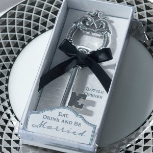 Silver Key Bottle Opener Favor image