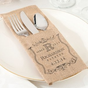 Burlap Wedding Silverware Holder (Set of 4 - 4 Designs) image