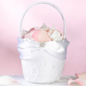White Lace Collection Flower Girl Basket image