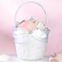White Lace Collection Flower Girl Basket