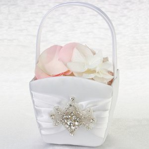 Jeweled Motif Flower Girl Basket image