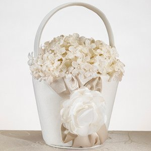 Taupe Rose Wedding Flower Girl Basket image