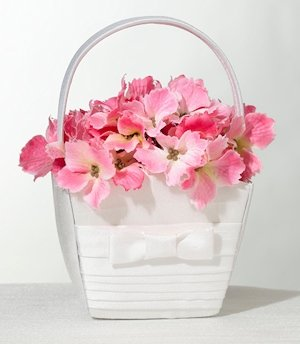 White Bow Pleated Silk Flower Girl Basket image