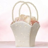 Elegant Ivory Satin Flower Girl Basket