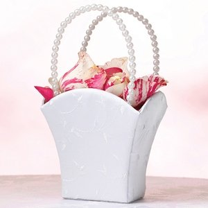 Elegant White Wedding Flower Basket image