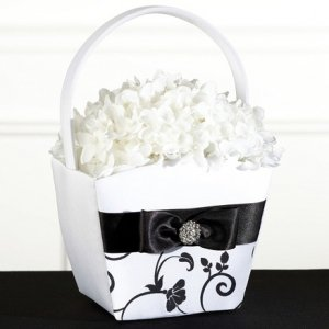Black & White Vines Flower Girl Basket image