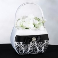 Black Damask Flower Basket
