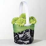 Green & Black Flower Girl Basket