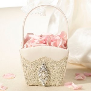 Vintage Gold Lace Flower Basket image