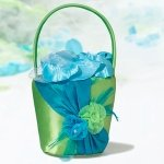 Vibrant Blue & Green Flower Girl Basket