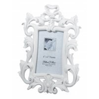 White Scroll 4 x 6 Photo Frame