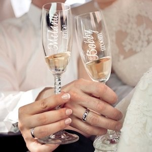 Single Wedding Toasting Glasses image