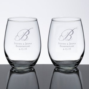 Stemless Wedding Wine Glass Set image