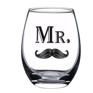 Mr Mustache or Mrs Lips Stemless Wine Glass image